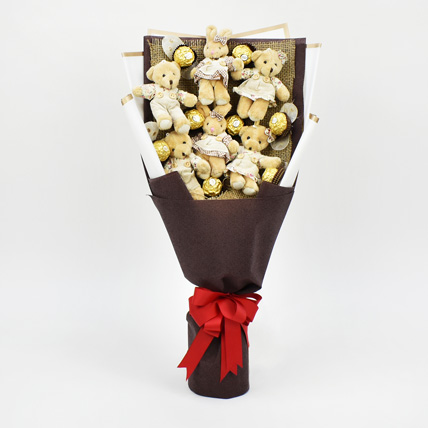 Chocolates and Teddy Bear Heart Shaped Bouquet: Birthday Gifts for Kids