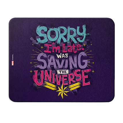 Marvel Sorry Im Late Was Saving The Universe Mouse Pad: Unique Gifts