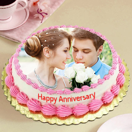 Delicious Anniversary Photo Cake:  Eggless Cake Delivery
