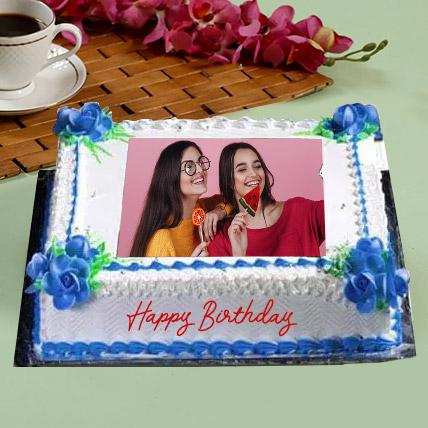 Birthday Floral Photo Cake: Eggless Birthday Cakes
