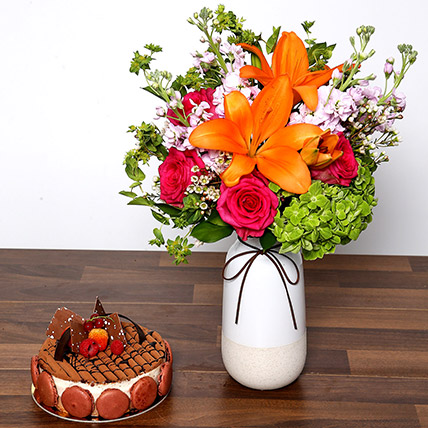 Vivid Mixed Flower Vase and Cake: Cake and Flowers