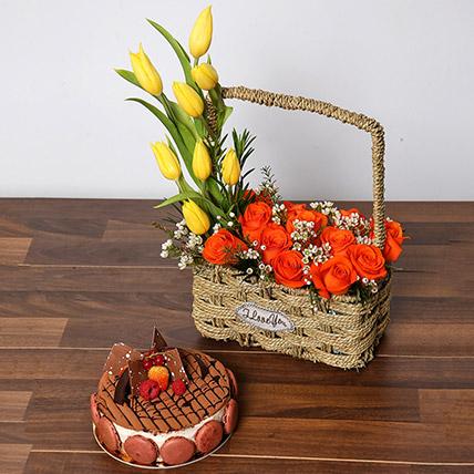 Orange Roses and Yellow Tulips Basket With Cake: Basket Arrangements