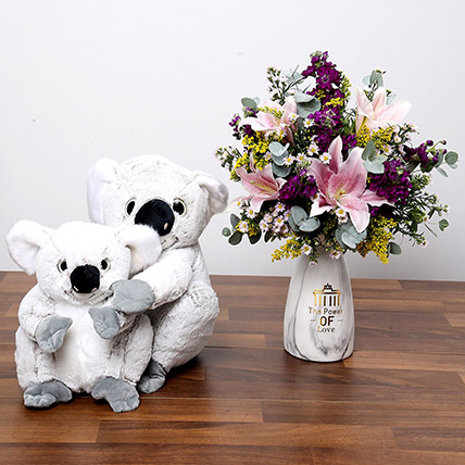 Pink and Purple Flowers In Vase With Teddy Bears: Anniversary Flowers and Teddy Bears