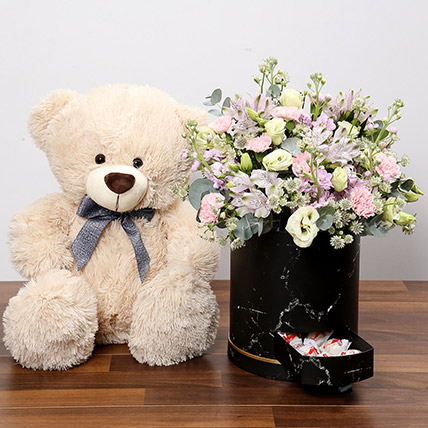 Pink and White Floral Box With Chocolates and Teddy: Valentines Day Flowers & Teddy Bears