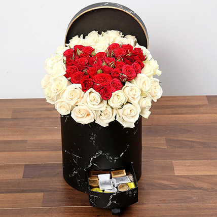 Peach and Red Rose Box With Patchi Chocolates: Flower Box Dubai