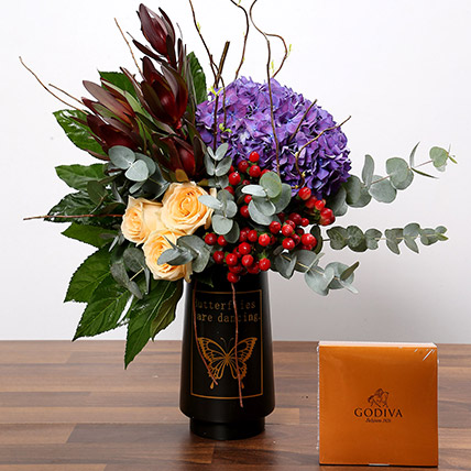 Exotic Floral Arrangement and GoDiva Chocolates: Flowers and Chocolates