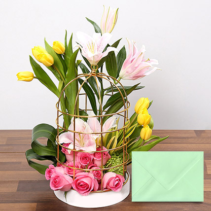 Floral Cage Arrangement With Greeting Card: New Year Flowers & Greeting Cards