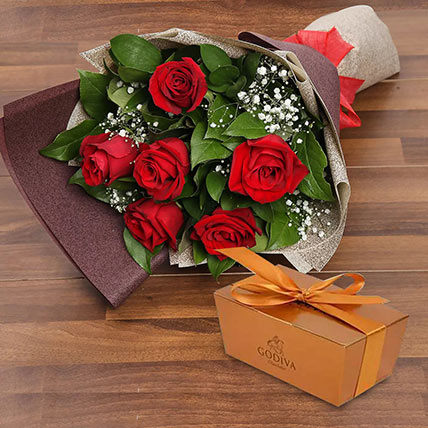 6 Red Roses and Godiva Chocolate Combo: Flowers and Chocolates