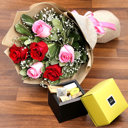 Mixed Roses Bouquet and Patchi Chocolate Combo: Patchi Chocolates