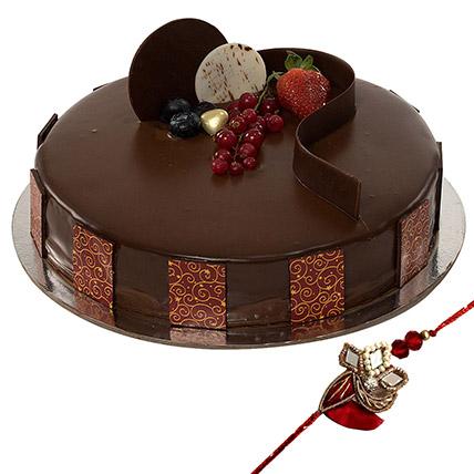 Rakhi with Chocolate Truffle Cake: Rakhi for Brother