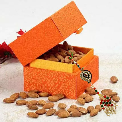 Box of Almonds with Lumba Rakhi: Rakhi