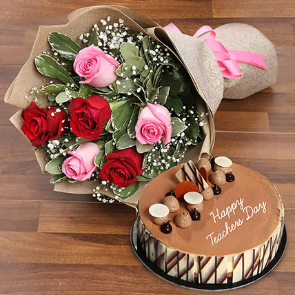 Teachers Day Flower and Cake Combo: Teachers Day Gifts