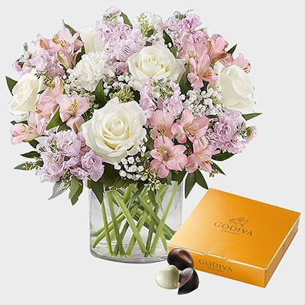 Exotic Blossoms and Godiva Gold Chocolate Box: Birthday Chocolates