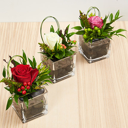 Set Of 3 Flower Vase Arrangements: Flower Delivery in Abu Dhabi