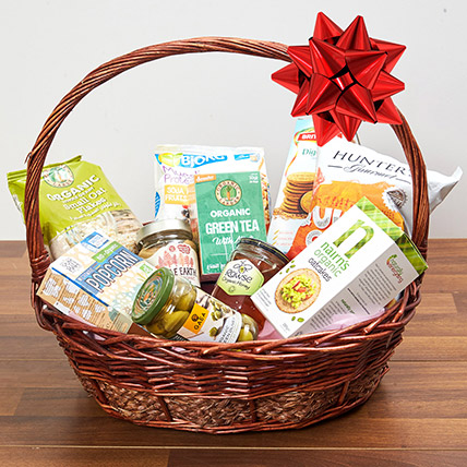 Mint Green Tea and Snacks Basket: Unique Gifts for Boss