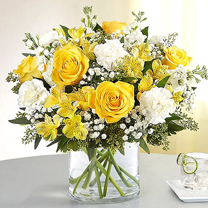Yellow and White Mixed Flower Vase: Fathers Day Flowers to Umm Al Quwain