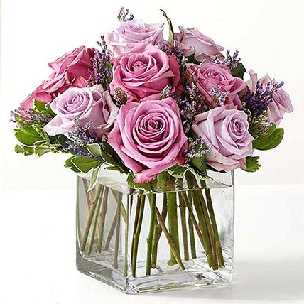Vase Of Royal Purple Roses: