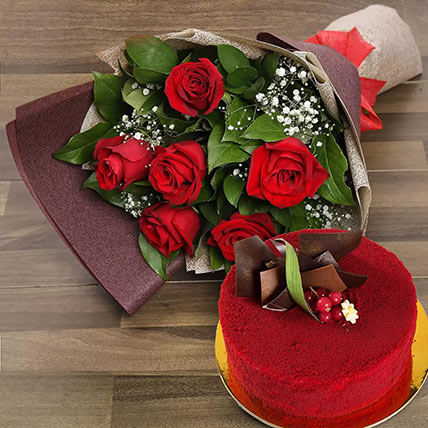 Red Roses with Red Velvet Cake: Chinese New-year Gifts
