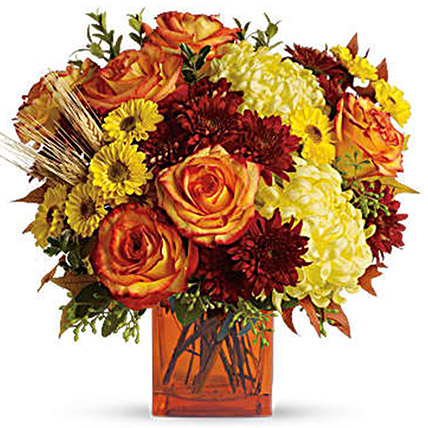Exotic Mixed Floral Vase: Halloween Flowers