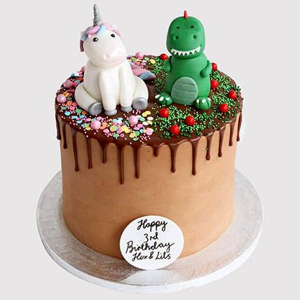 Dinosaur and Unicorn Cake: Dinosaur Cakes