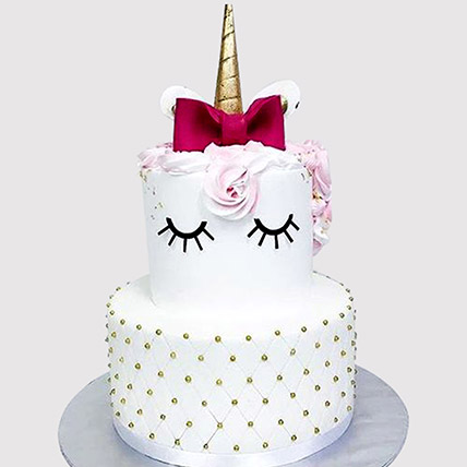 Elegant Unicorn Layered Cake: Cakes Delivery for Kids