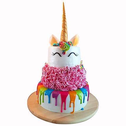 Happy Unicorn 3 Layered Cake: Unicorn Cake Dubai