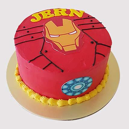 Iron Man Fondant Round Cake: Iron Man Cake