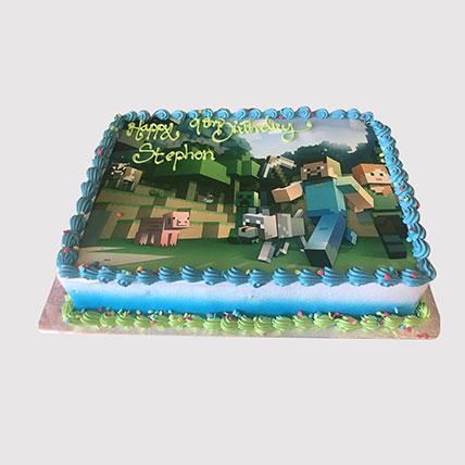 Minecraft Game Photo Cake: Minecraft Birthday Cake