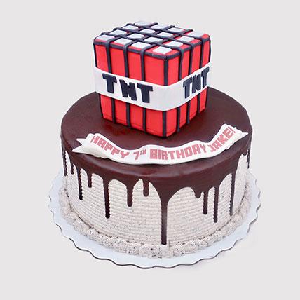 Minecraft TNT Birthday Cake: Minecraft Birthday Cake