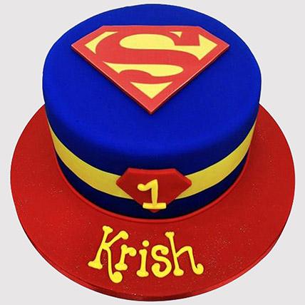 Superman Logo Fondant Cake: 1st Birthday Cakes