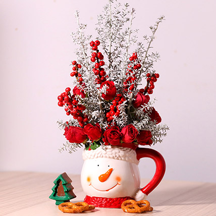Ceramic Mug Flower Arrangement: Christmas Flowers