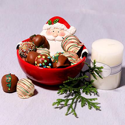 Santas Bowl Of Chocolate Strawberries: Chocolates