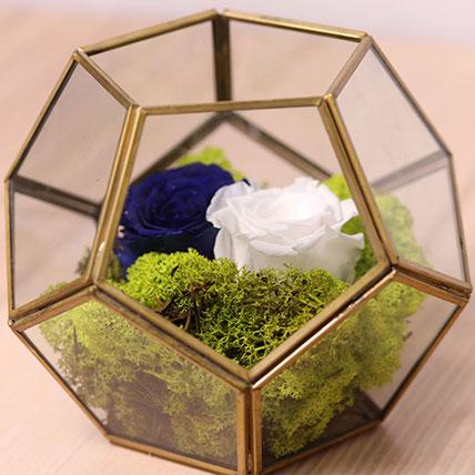 Blue and White Roses In Designer Base: Forever Rose Dubai