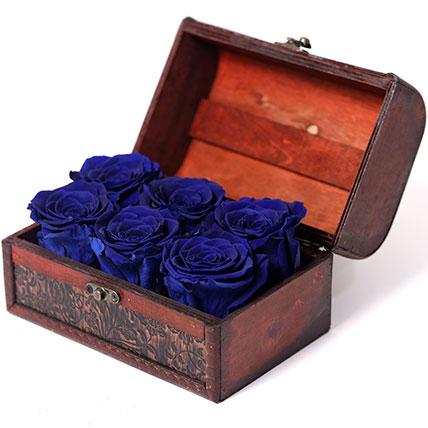 6 Blue Forever Roses In Treasure Box: Forever Roses