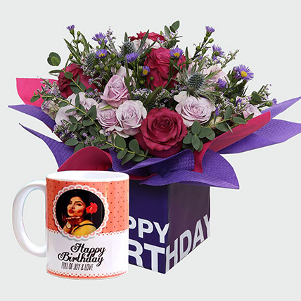 Birthday Special Flowers and Personalised Mug: Flowers N Personalised Gifts