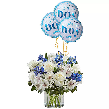 Blue and White Flower Arrangement With Balloons: Newborn Baby Gifts