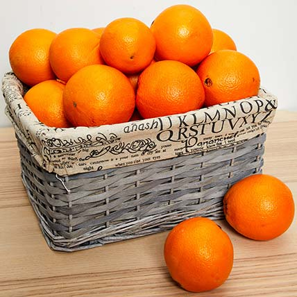 Wooden Basket Of Oranges- 5 kgs: Fruit Baskets