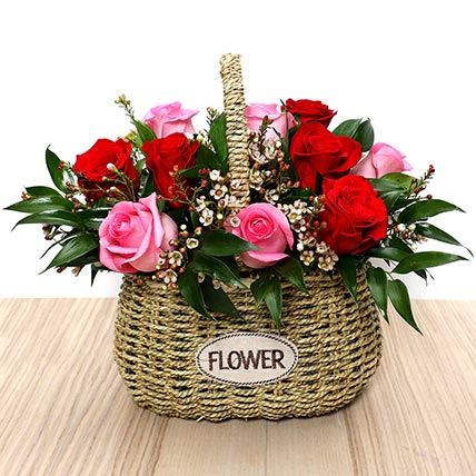 Red and Pink Roses Mini Basket: Valentines Day Gifts to Fujairah