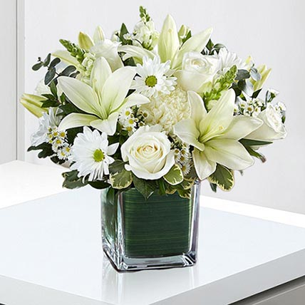 Beautiful White Flowers Vase: Sympathy Flowers and Funeral Flowers
