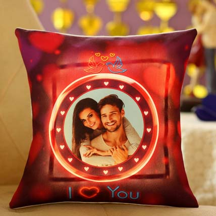 Lovey Dovey Personalised LED Cushion: Valentines Day Gifts For Him