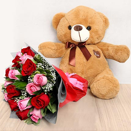 Pink and Red Roses Bouquet with Brown Teddy Bear: Valentines Flowers