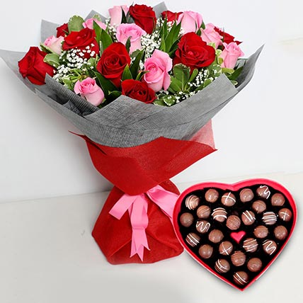 Pink and Red Roses Bouquet with Heartshaped Chocolates: Valentine Gift Hampers to Abu Dhabi