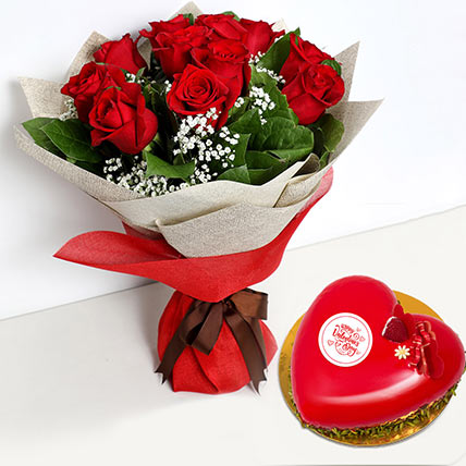 12 Red Roses Bouquet with Heartshape Cake: Valentines Day Gifts For Him