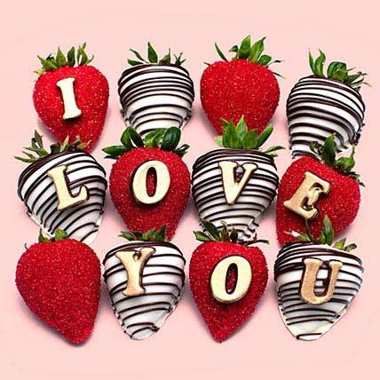 I Love You Chocolate Strawberries: Personalised Chocolates