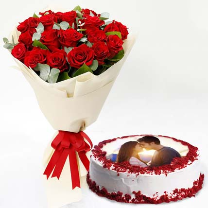 Red Roses & Cake Combo: Anniversary Flowers & Cakes