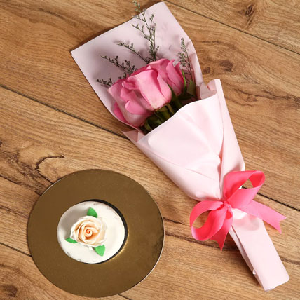 Pink Roses Bouquet & Mono Cake Combo: Mono Cakes
