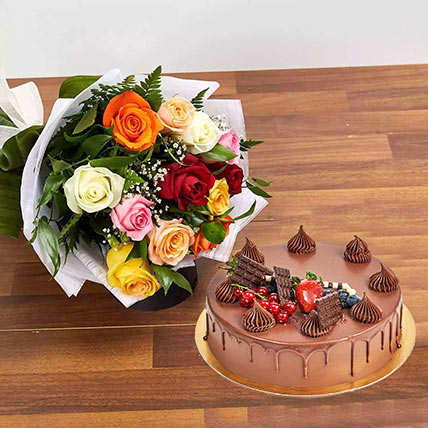 Dozen Multi Roses with Fudge Cake:  Anniversary Gifts for Parents