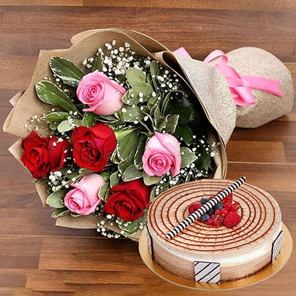 Red and Pink Rose Posy With Triple Chocolate Cake: Mothers Day Flowers & Cakes