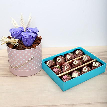 Forever Roses N Choco Strawberries: Personalised Chocolates