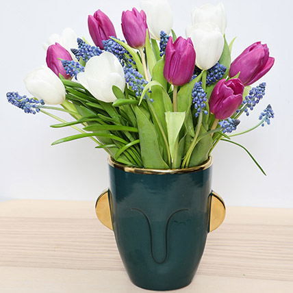 Tulips and Muscari in a Vase: Fathers Day Flowers to Sharjah